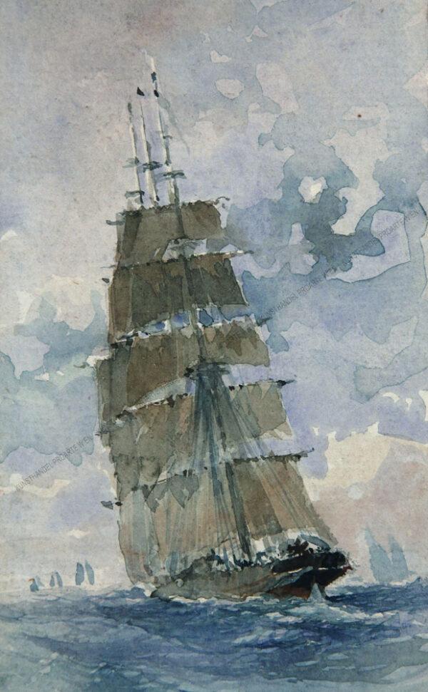 Aquarell auf Papier Maße: 17,2 x 8,5 cm Mit Passepartout:40,6 x 28,8 cm Rechts unten für mich nicht lesbar signiert um 1880/1900 Topqualität