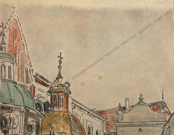 Jozef Pieniazek - Motiv aus Krakau - Schloss Wawel Die Sigismundkapelle mit goldener Kuppel