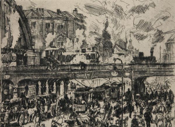 Wilhelm Giese - Der Alexanderplatz in Berlin mit Hochbahn