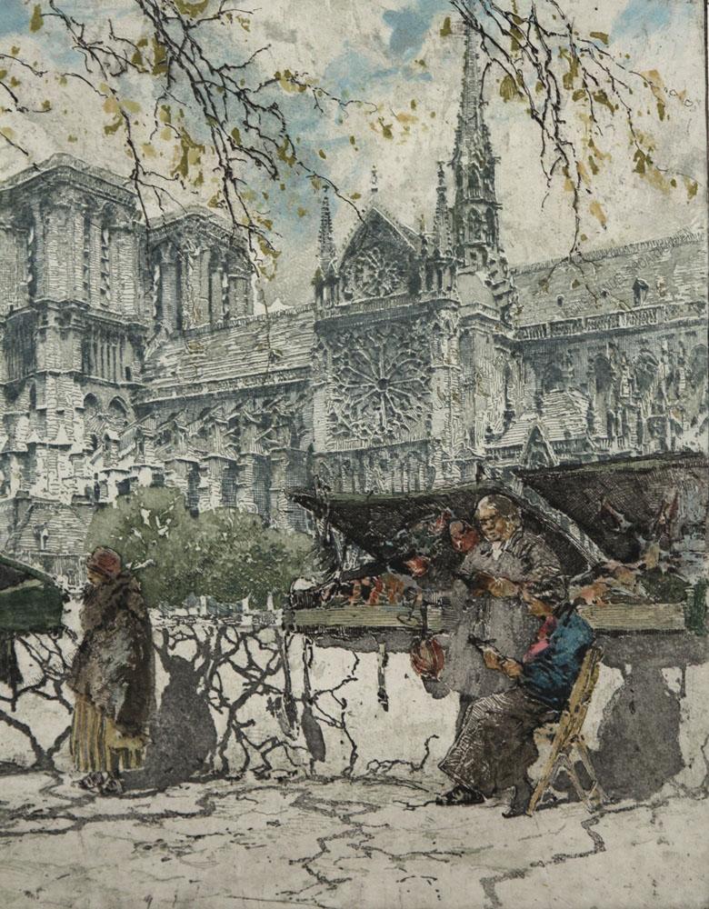Franz Xaver Wolf - Motiv aus Paris -Die Buchhändler - Les Bouquinistes- vor der Kathedrale Notre Dame de Paris