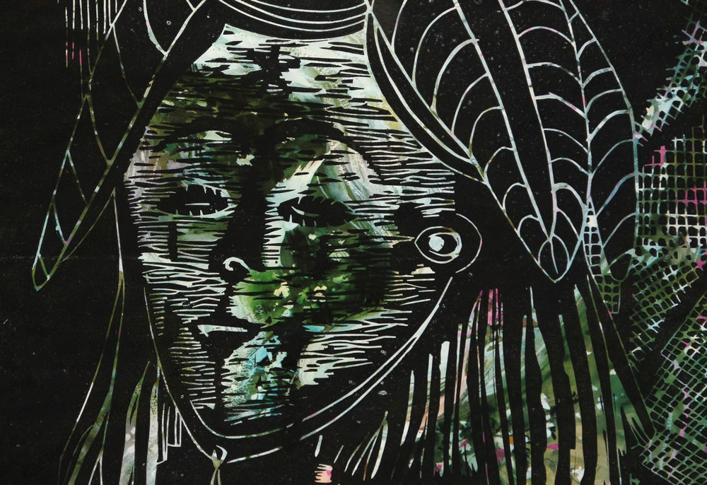 Karl Tomasovsky - Junge Frau mit Blätterschmuck