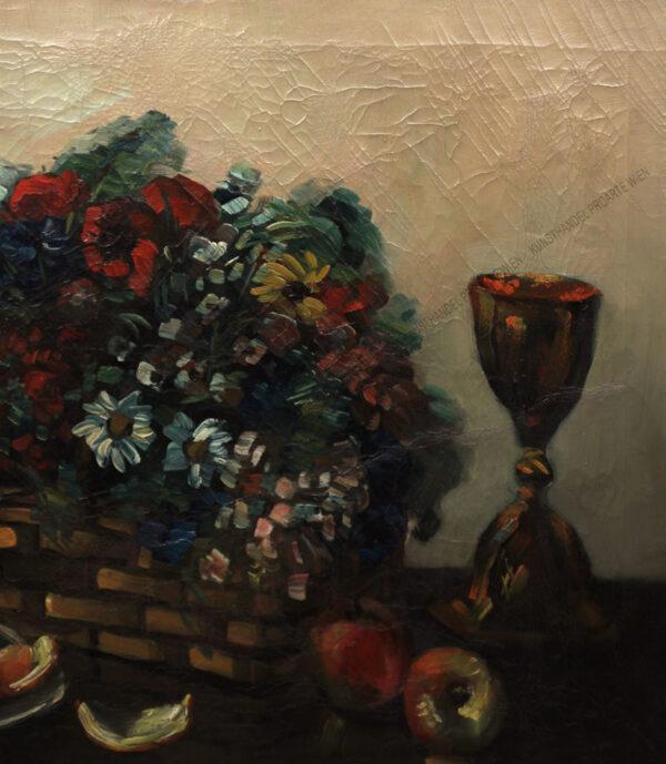 Leo Abramowicz - Prachtvolles Stilleben mit Blumen, Obst und Gefäßen