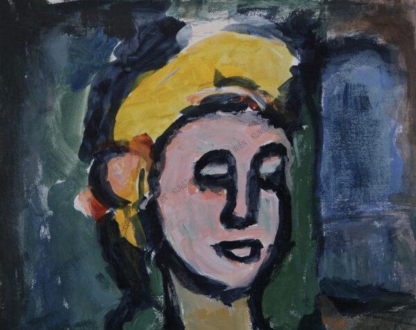 Rudolf Ullik - Bildnis einer jungen Frau -Inspiriert von Georges Rouault
