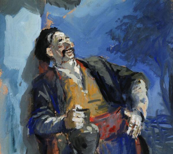 Künstler unbekannt - Lachender Mann mit Weinkrug
