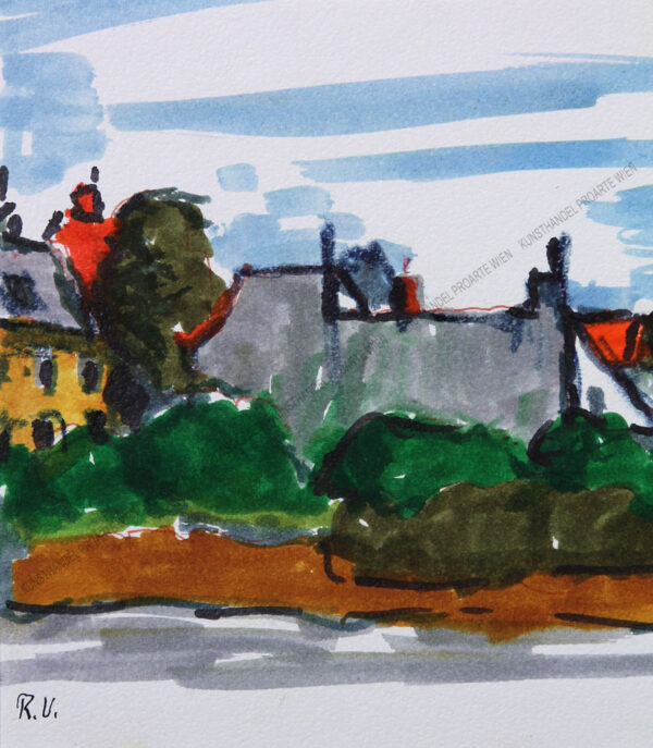 Rudolf Ullik - Blick auf den Ort Soos bei Baden