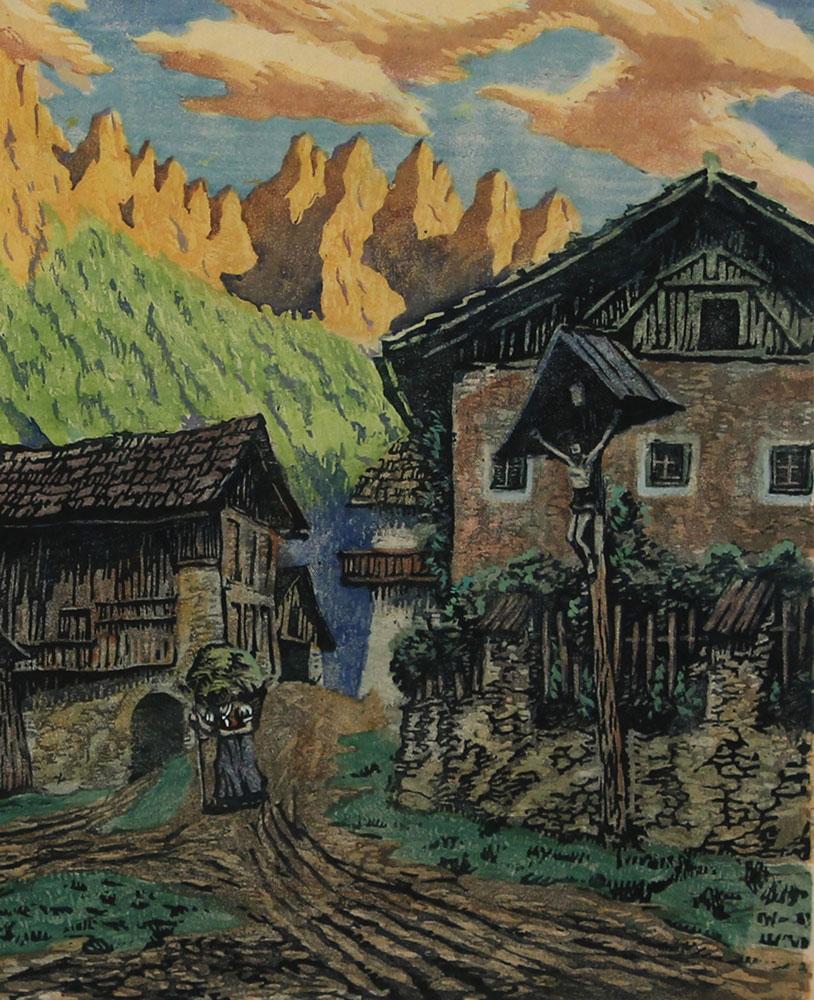 Karl Schulz - Motiv aus Osttirol -Leisacher Dorfgasse