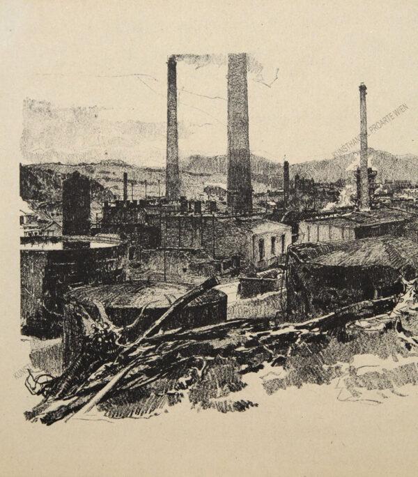 """Luigi Kasimir - Eine Lithographie aus""""Galizien 1915 - Ein Künstlertagebuch"""" -Petroleumraffinerie in Glinik Mariampolski"""