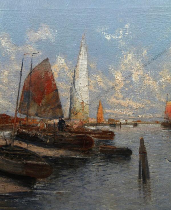 Georg Fischhof - Fischerboote im Hafen