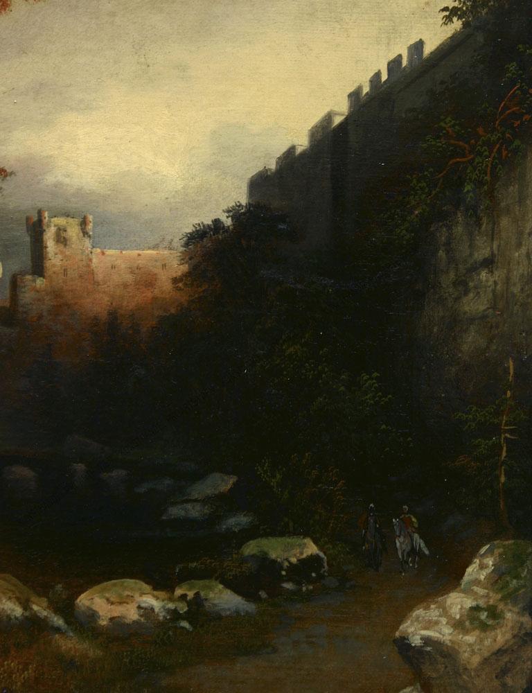Ladislaus von Benesch - Motiv aus Spanien - Partie bei Toledo -Zwei Reiter in Landschaft, im Hintergrund eine mächtige Schlossanlage