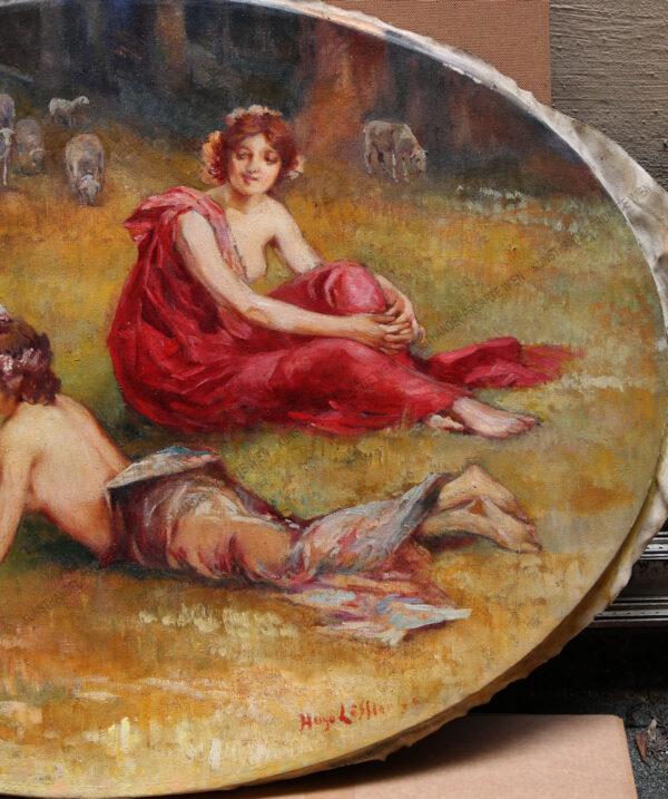 Hugo Löffler - Salonbild -Drei Grazien auf einer Waldlichtung
