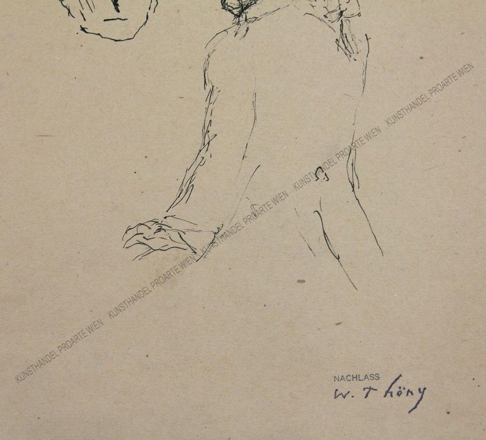 Wilhelm Thöny - Mann mit Zopf sowie Studie