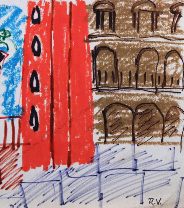 Motiv aus Italien - Blick auf eine Stadt mit zwei Türmen