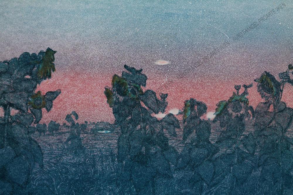 """Jan Wojnarski - Sonnenblumenfeld bei untergehender Sonne """"Sloneczniki"""" 1909"""