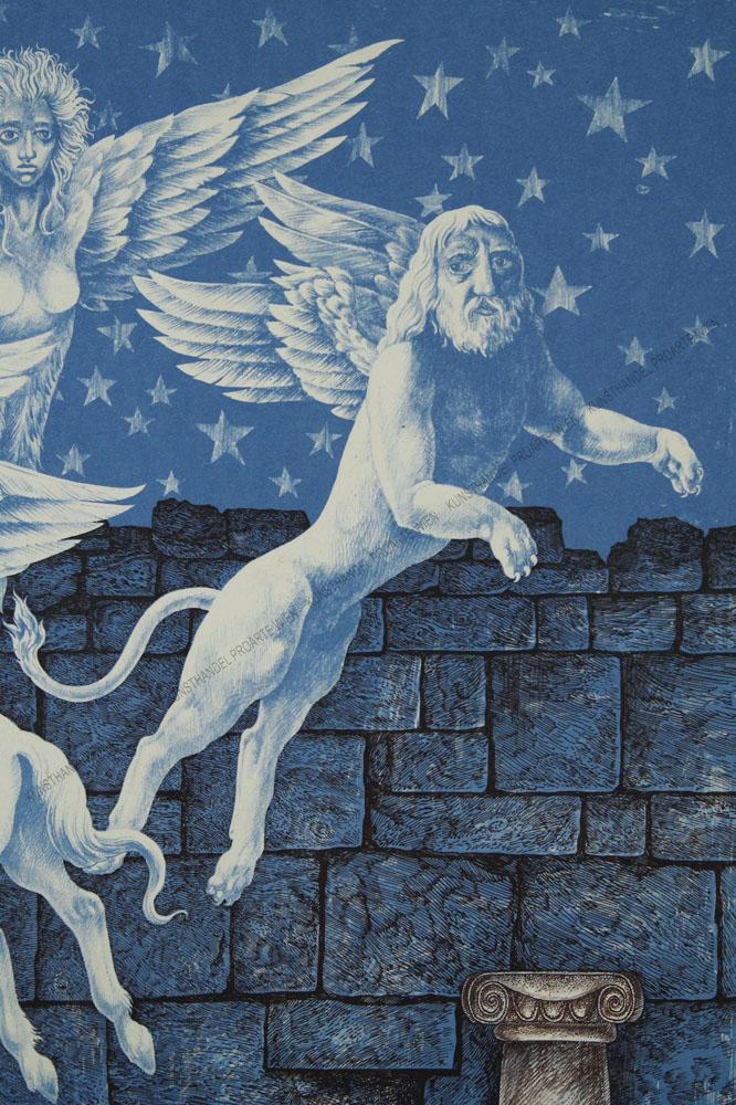 Peter Proksch - Phantastische Darstellung -Engel, Pegasus und geflügelter Löwe