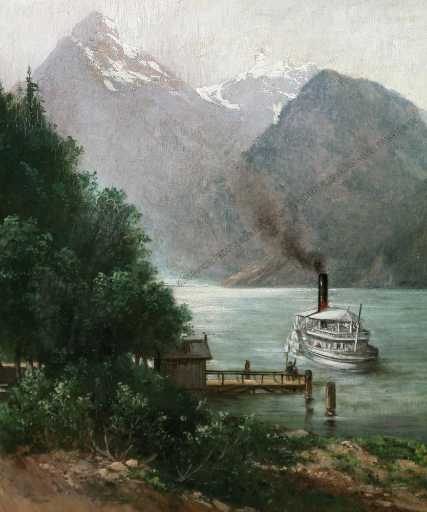 C. Wintersteiner - Motiv aus der Schweiz -Raddampfer auf dem Urnersee