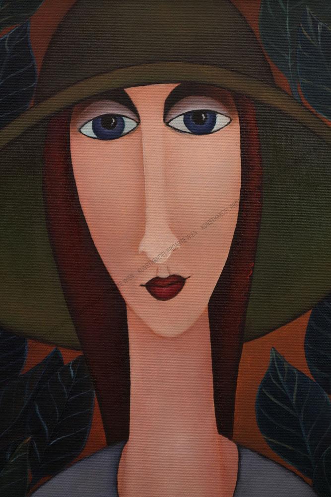 Jolanta Podlesny - Frau mit Hut- im Hintergrund Blätter