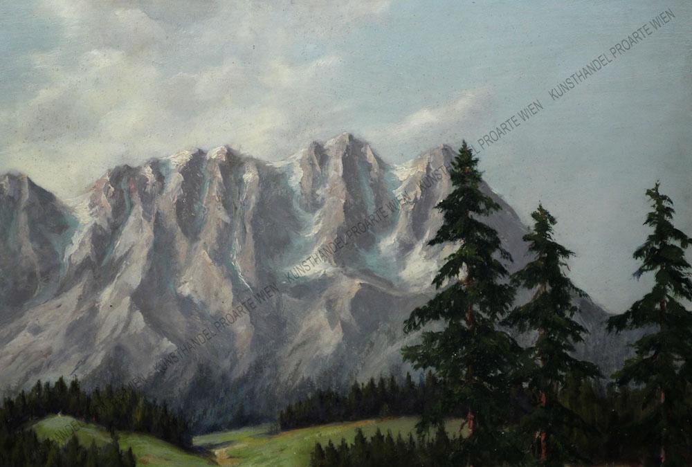 Maximilian Strasky - Blick auf eine Hütte am See, im Hintergrund eine Gebirgskette