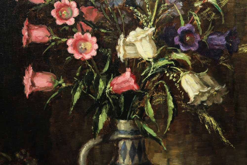 Hans Werner van der Porten - Stillleben -Blumenstrauß in einer holländischen Vase sowie Buch und Trinkglas