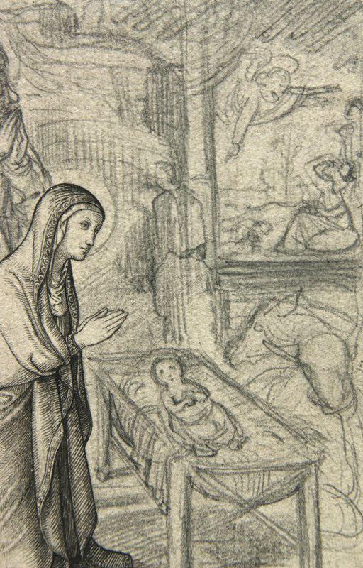 Eduard Ender - Josef und Maria mit Jesuskind -Im Stall zu Betlehem