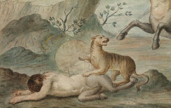 Künstler unbekannt - Kentaurenpaar im Kampf gegen Raubkatzen