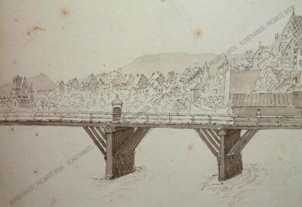 Künstler unbekannt - Rheinbrücke mit Rheintor